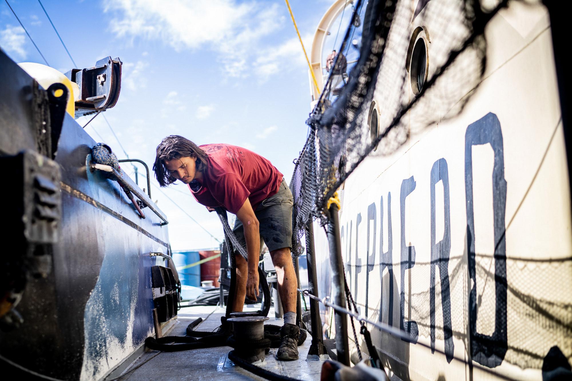 sea-shepherd-deckhand-tying-line SEA SHEPHERD